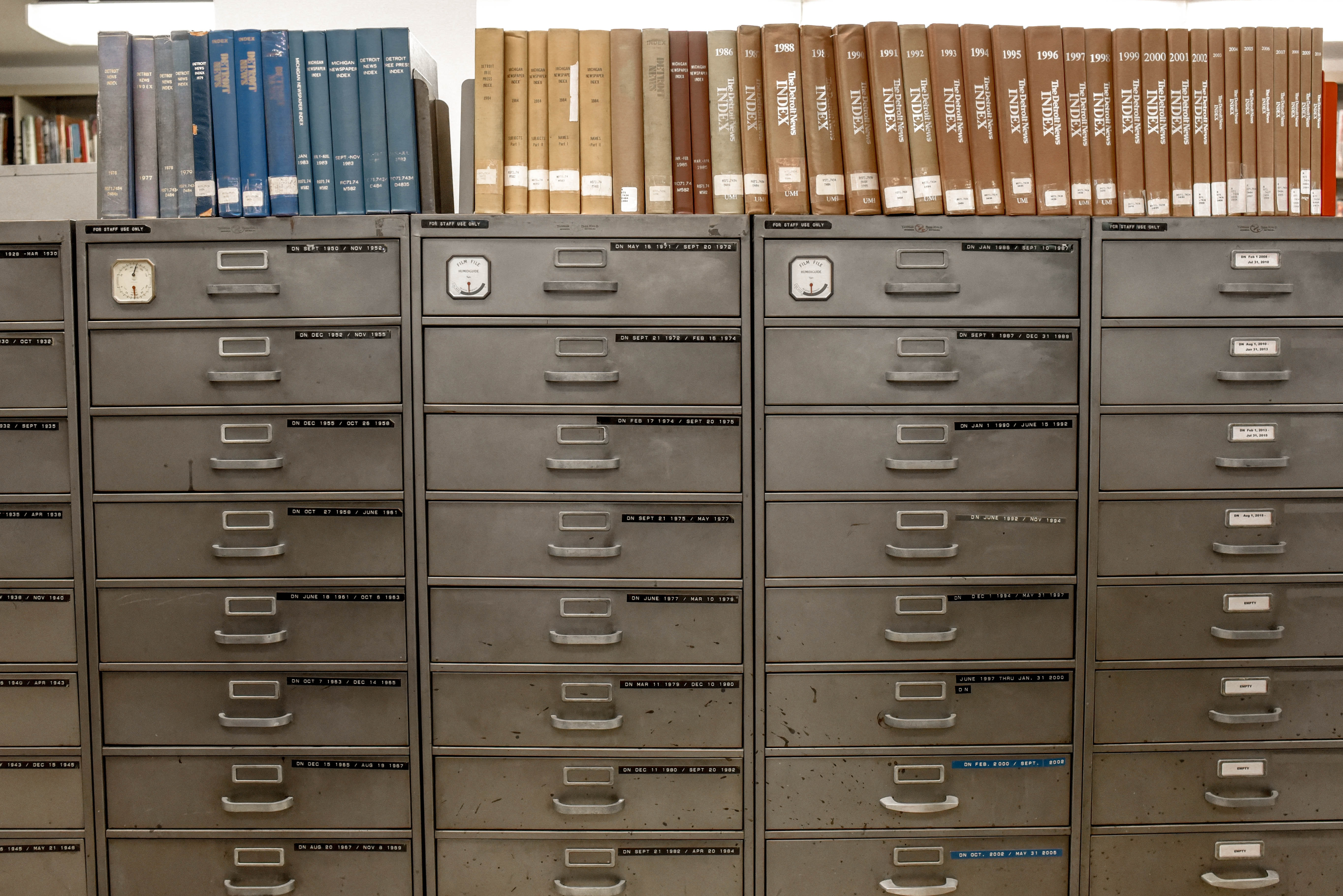 Old-fashioned filing system